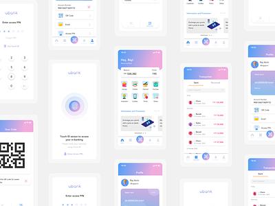 Ubank | Online Banking Mobile App Concept uiux uxdesign uidesign bank mobile bank mobile banking money financial app clean ux ui mobile design app