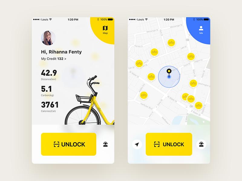 ofo app sidebar unlock ride map blue yellow bike ofo