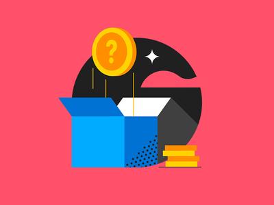Doubt doubt star google pink gold box token illustrations