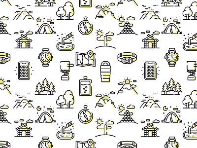 HIKING ICON SET typography illustration vector free logo illustrator japan design icon mountain hiking
