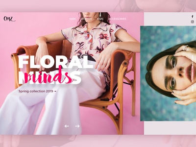 Floral minds - UI concept concept typography grid pink website fashion web design ux ui