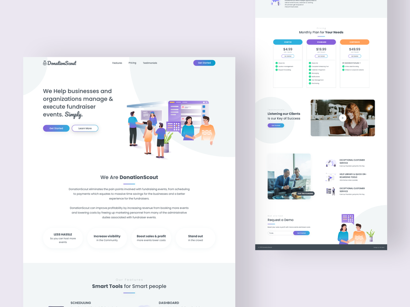 DonationScouts adobe xd concept one-pager landing page events finance designer web deisgn vector website ui design ux