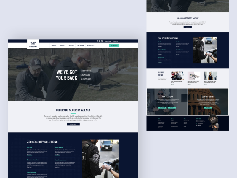 Colorado Security Agency adobe xd ux website design security system web development uxdesign uidesign ui  ux ui navy blue navy american web design web site webdesign guards security