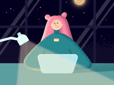 Night work vector illustration