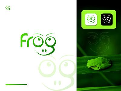 Frog Typography Logo Mark typography logo green mobile app froggy logo graphic design apps frogs logo animal logo frog logo frog ux ui illustration vector logo logo design identity icon design branding