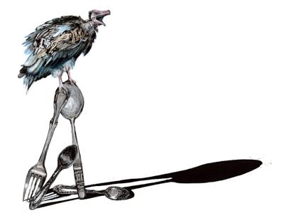 Dinner Time drawing illustration photoshop vulture