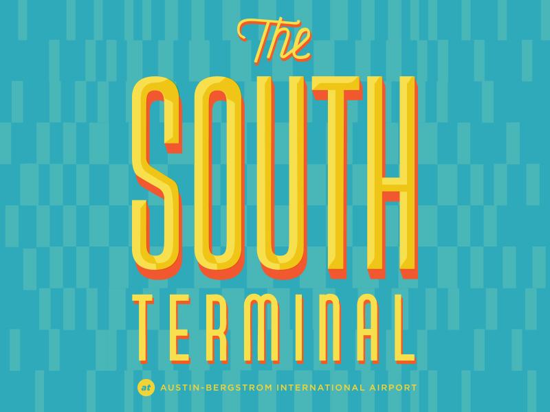 The South Terminal  jet set palm springs mid century modern travel sunny signage retro logo airport