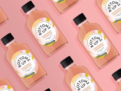 Bottoms Up : Raspberry Lemonade arrow alcohol up texture texas packaging label cocktails calibre brown branding