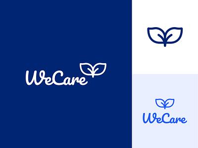 WeCare Health Logo icon illustration typography logo branding design