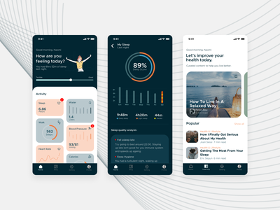 Health and Wellness App illustration ux ui design