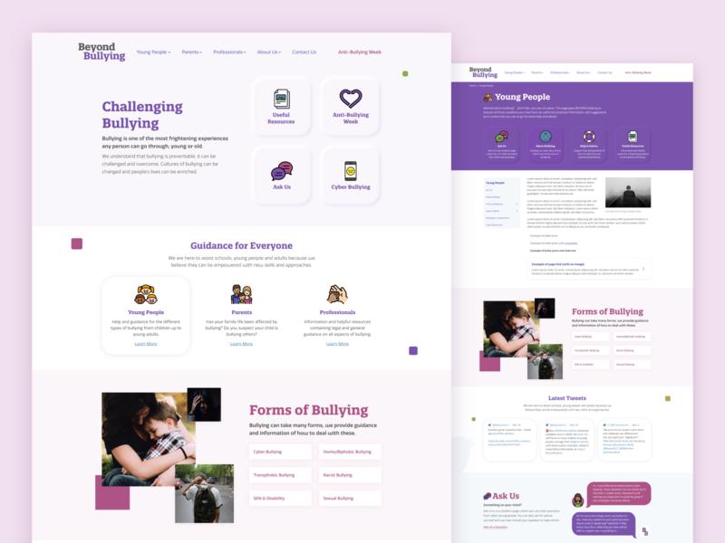 Beyond Bullying Website UI leicestershire ui design speech branding design web ux ui website design website bullying