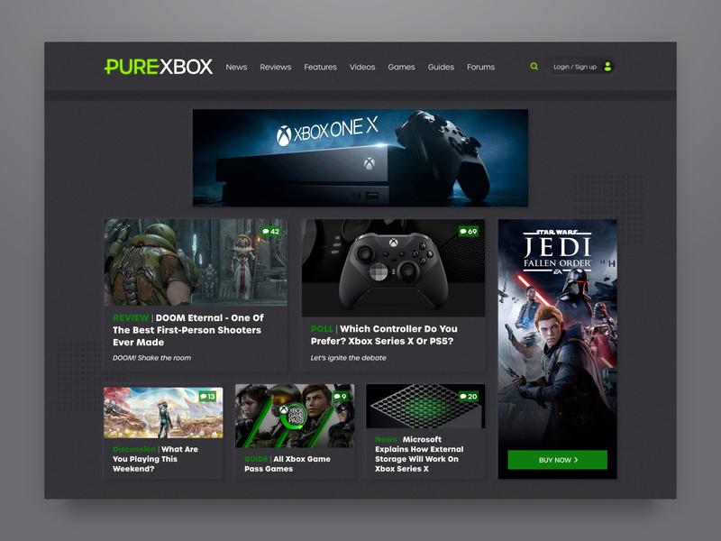 Pure Xbox Landing Page Concept landing page xbox neomorphic neomorphism ui design design website web ux ui