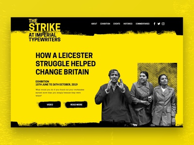 The Strike at Imperial Typewriters website exhibition art design web ux ui