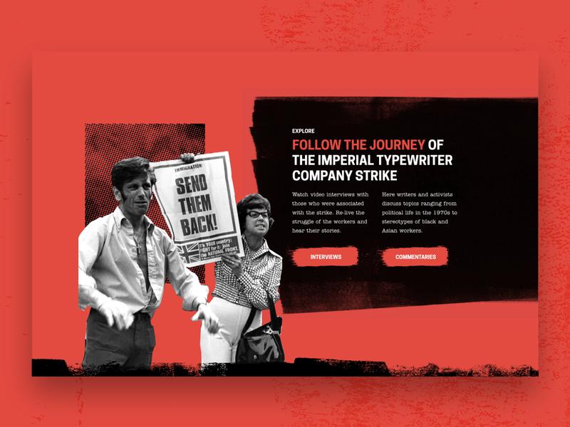 The Strike at Imperial Typewriters ui design exhibition art design website web ux ui