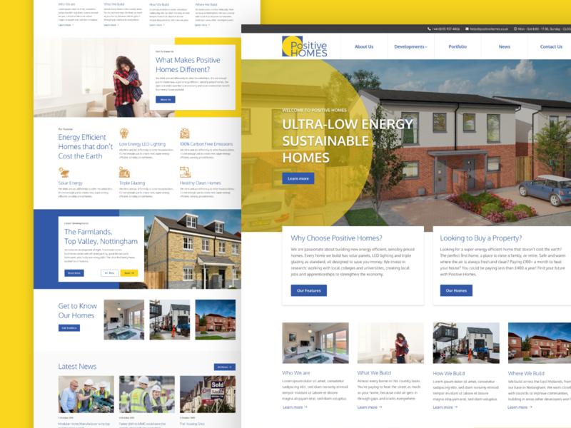 Positive Homes Website UI homepage property developer estate agents ui design website web ux ui