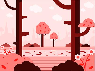 Spring Landscape background art background design minimal illustration landscape design landscape illustration flat design illustration art graphic design graphicdesign illustration design flat illustration vector minimal illustrator illustration flat design