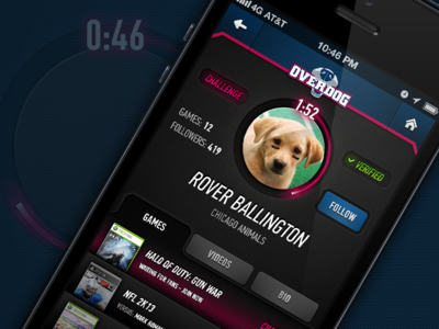 OverDog iPhone app - Athlete Profile