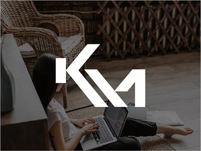 KM initials logo design symbol graphic design speaker identity icon branding logo