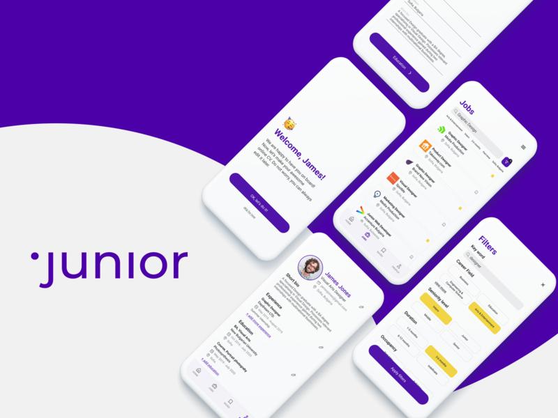 Junior App — applying for a job made easy mobile ui mobile app bold colorful ios uxdesign dailyui ux minimal simple uidesign ui design