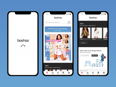 Boohoo (e-commerce redesign for a fashion brand) boohoo modern design mobile e-commerce app online store fahsion app fashion design fashion e-commerce ecommerce mobile ux mobile ui redesign ui  ux ui