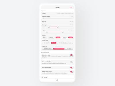 Tinder Settings Page - redesign