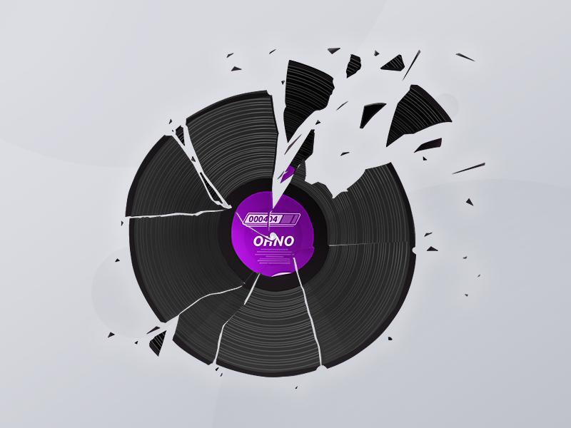 Broken pieces broken error 404 page lp record illustration