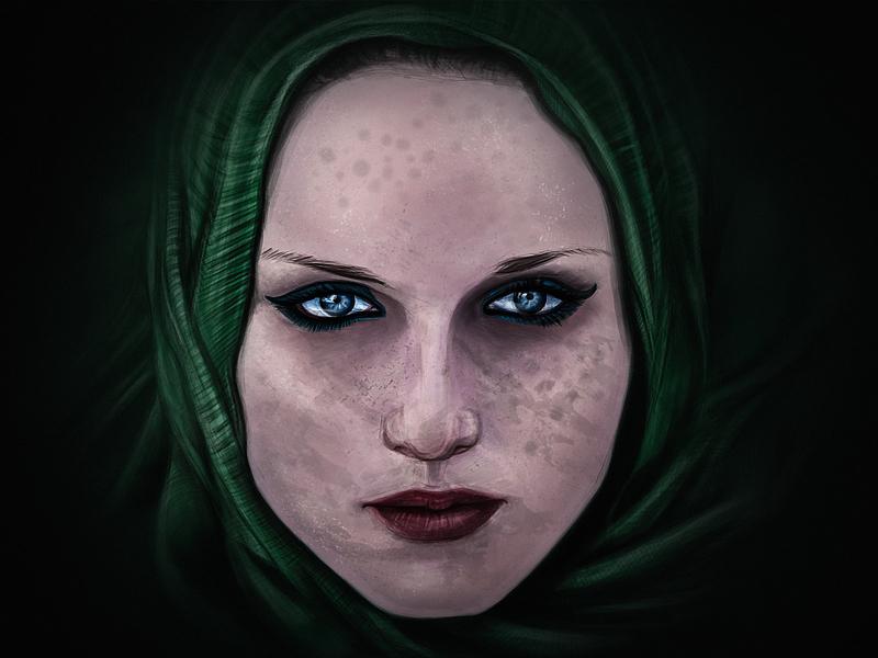 Illustration Practice eyes scarf woman illustration
