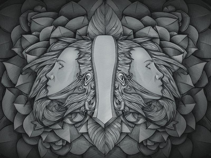 Two-Faced faces crest leaf leaves illustration
