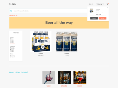 Beverages Delivery Website - Product Page