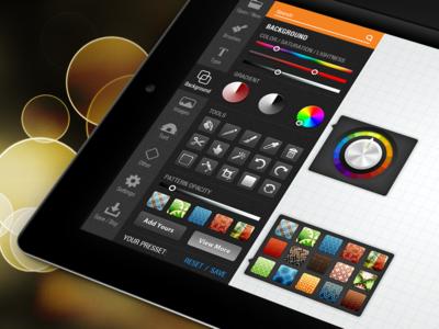 Drawing iPad application ipad drawing apple ios professional clean modern darker cool pattern orange icons