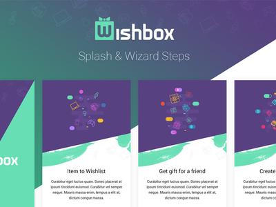 Wishbox wizard steps splash screen hybrid android ios mobile app items present gift wish box