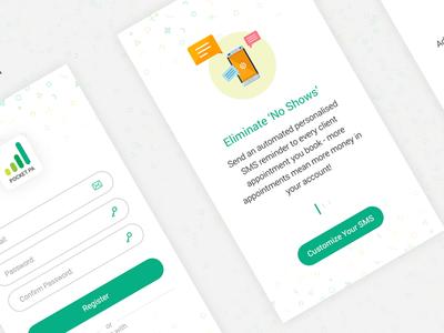 PocketPA - App login register wizard steps minimalist white green tracking budget money wallet pocket