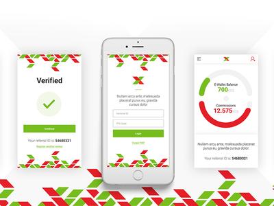 Mobile App form forgot dashboard white green red register mobile login android ios mobile app