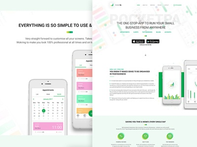 PocketPa - Landing Page landing page one page application mobile app mobile app task ios android