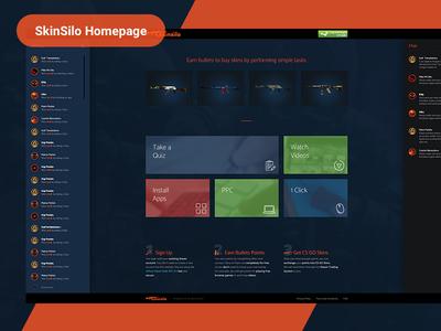 SkinSilo Homepage orange landing page gun weapon armory skins skinsilo homepage cs cs:go counter strike