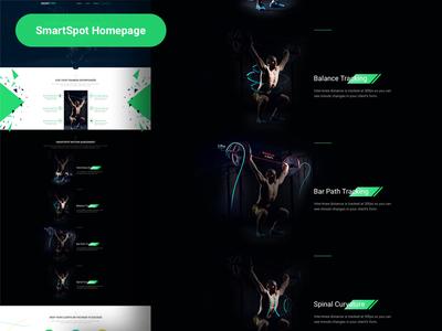 SmartSpot - Landing Page future tech muscle dark black homepage smartspot workout fitness modern landing page