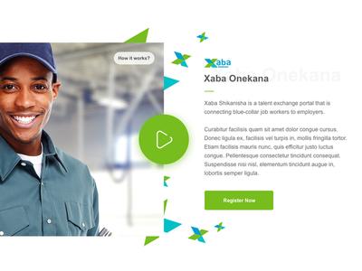 Xaba - Landing Page responsive mobile employee careers work header video minimalist green xaba modern landing page