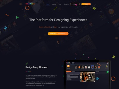 The Experience Manager -- Landing Page platform the experience manager creative minimalist design mobile orange desktop app black one page landing page