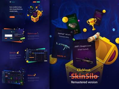 Skinsilo is becoming Clickloot gambling bet ecommerce counter strike fantasy shop loot rewards dashboard landing page gaming skin pubg csgo