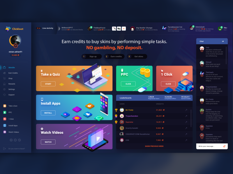 Homepage - Clickloot chat pubg csgo ppc bet gambling leaderboard homepage landing page loot dashboard