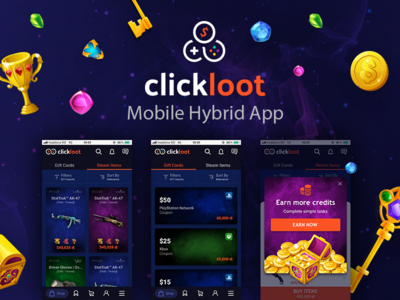 Clickloot - Mobile App cards listing ecommerce shop earn skins pubg csgo loot lootbox ui design ux design mobile app experience mobile app mobile app design gambling
