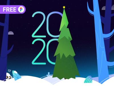 Happy New Year! Freebie 👉 new year winter noise palette 2d art vector svg freebie free figma illustration flat design