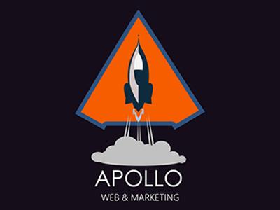 Apollo Web & Marketing Logo purple marketing space rocket orange brand logo