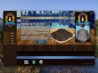 Arrowhead Wild Rice Website oregon organic arrow logo blue wild rice rice brown