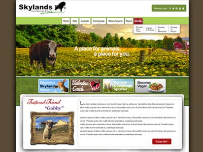 Skylands Animal Sanctuary ux website green sanctuary farm vegan