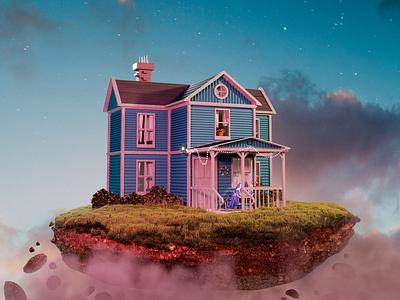 House cycles blender 3d illustration