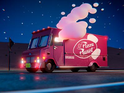 Pizza truck illustration cycles blender 3d truck