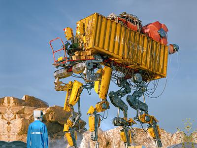 REMOTE CONTROL cyberpunk post apocalyptic future concept vehicle walker mech robot illustration 3d