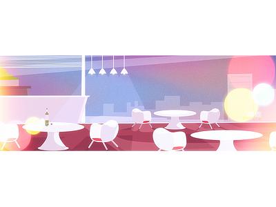 restaurant light illustration night cafe restaurant