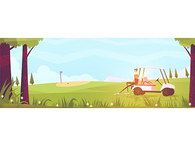 Golf club retro concept character dude golf car sun trees illustration golf